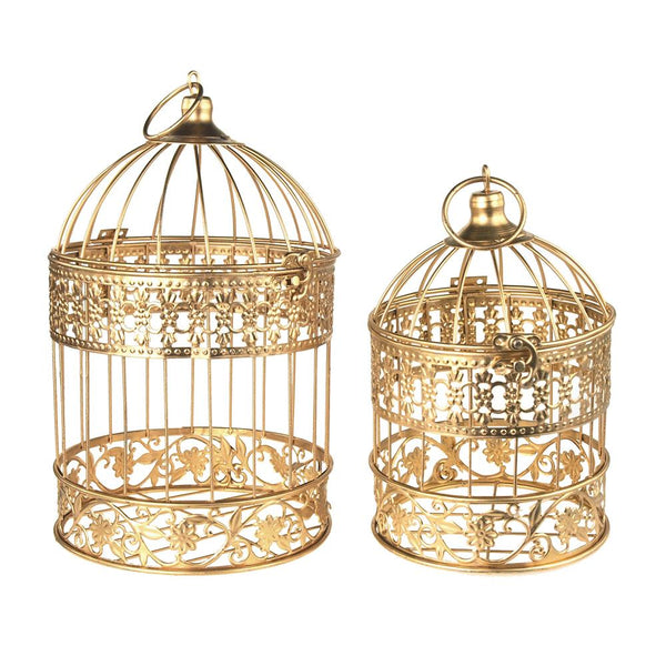 12-Pack, Gold Metal Wedding Bird Cage Centerpiece, Medium, 2-Piece