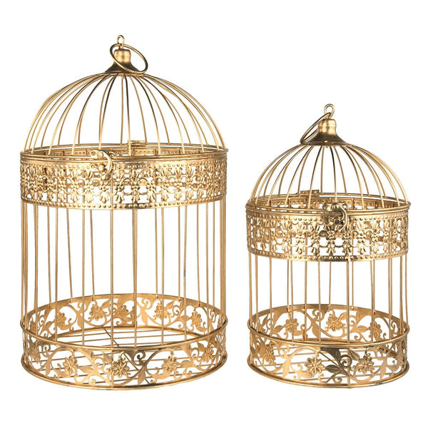 Gold Metal Wedding Bird Cage Centerpiece, Large, 2-Piece