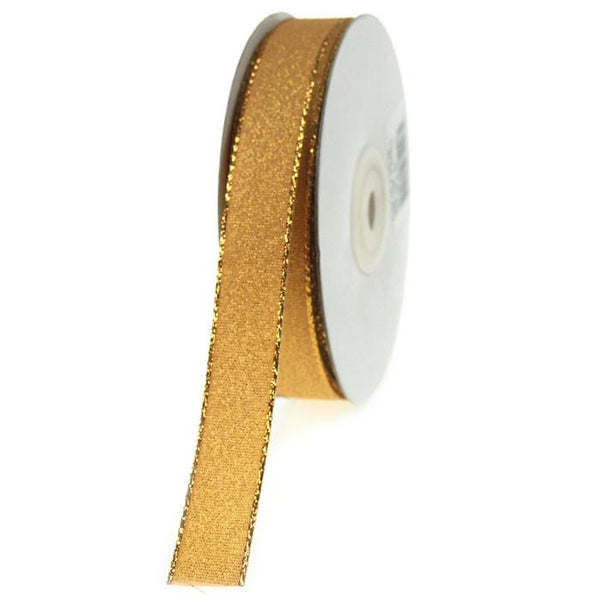 12-Pack, Shimmering Metallic Christmas Ribbon, 5/8-inch, 25-yard, Gold