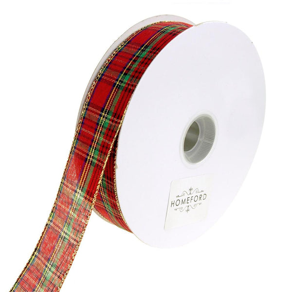 Festival Plaid Wired Christmas Holiday Ribbon, Red, 1-1/2-Inch, 50 Yards