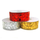 12-Pack, Sheer Organza Gilded Dots Metallic Christmas Holiday Ribbon, 2-1/2-Inch, 50 Yards