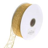 12-Pack, Jupiter Sheer Organza Glitter Circle Christmas Holiday Ribbon, 1-1/2-Inch, 50 Yards