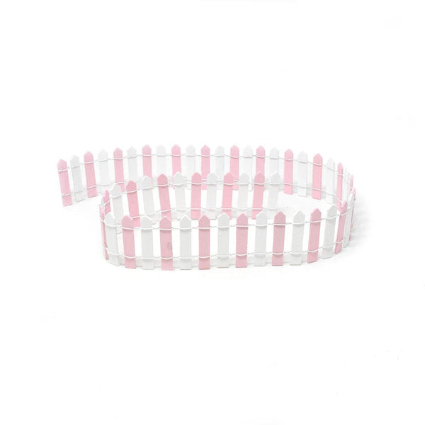 Miniature Two-Tone Wood Picket Fence, 36-Inch, Pink