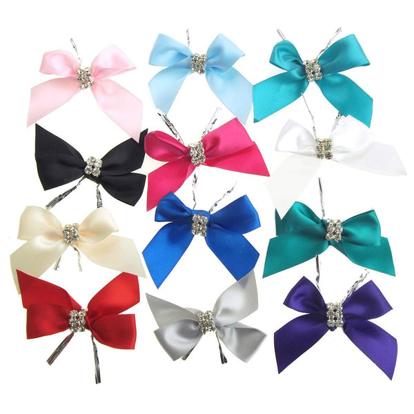 12-Pack, Pre-Tied Satin Bows with Rhinestone, 3-Inch, 4-Piece