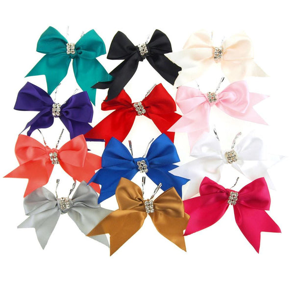 12-Pack, Pre-Tied Satin Bows with Rhinestone, 4-Inch, 2-Piece