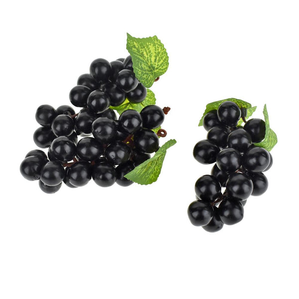 Artificial Decorative Grapes Bunch, 4-Inch, 12-Piece, Black