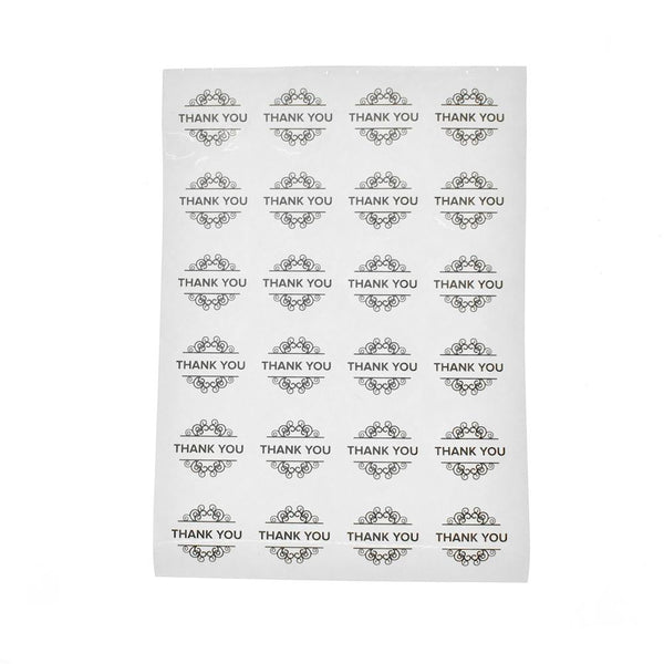 "Round Scroll Swirl ""Thank You"" Stickers, 96-Count"