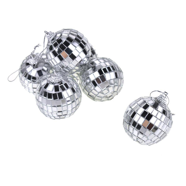 Hanging Mirror Disco Ball, Silver, 2-Inch, 6-Piece
