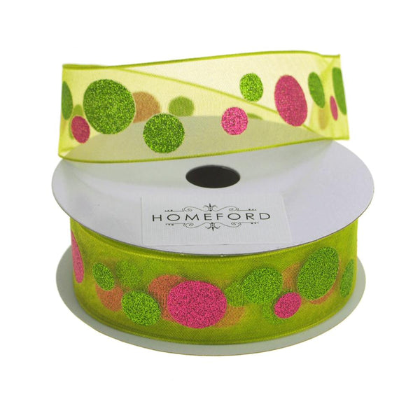 Glitter Dots Christmas Organza Ribbon Wired Edge, 1-1/2-Inch, 25 Yards, Lime