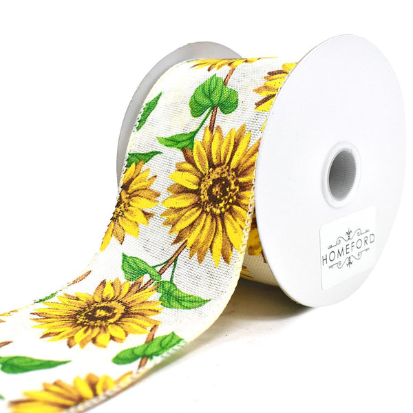 Sunflowers Faux-Linen Wired Ribbon, 2-1/2-Inch, 10-Yard