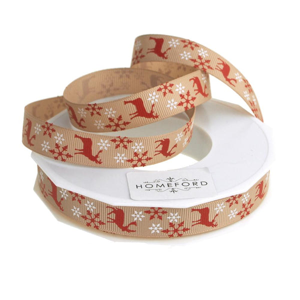 Burgundy Reindeer Snowflakes Christmas Grosgrain Ribbon, Natural, 5/8-Inch, 25 Yards