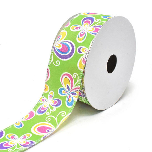 Butterflies Satin Wired Printed Ribbon, Lime, 1-1/2-Inch, 10-Yard