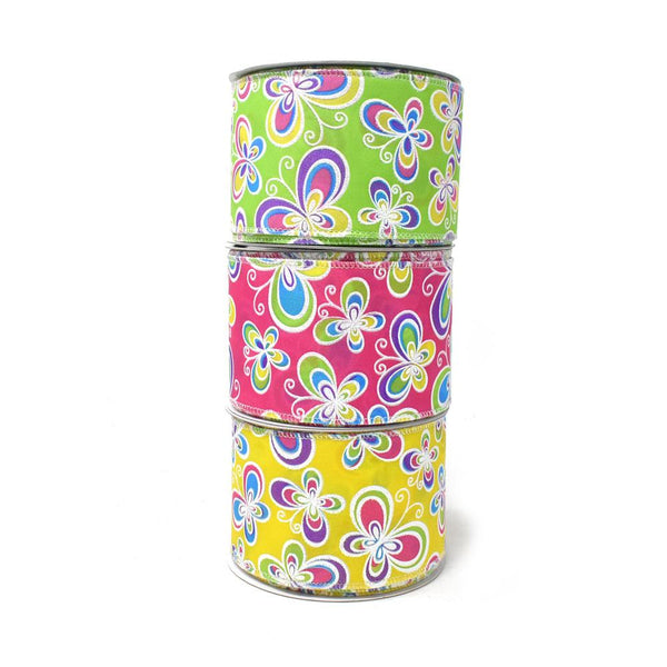 12-Pack, Butterflies Satin Wired Printed Ribbon, 2-1/2-Inch, 10-Yard