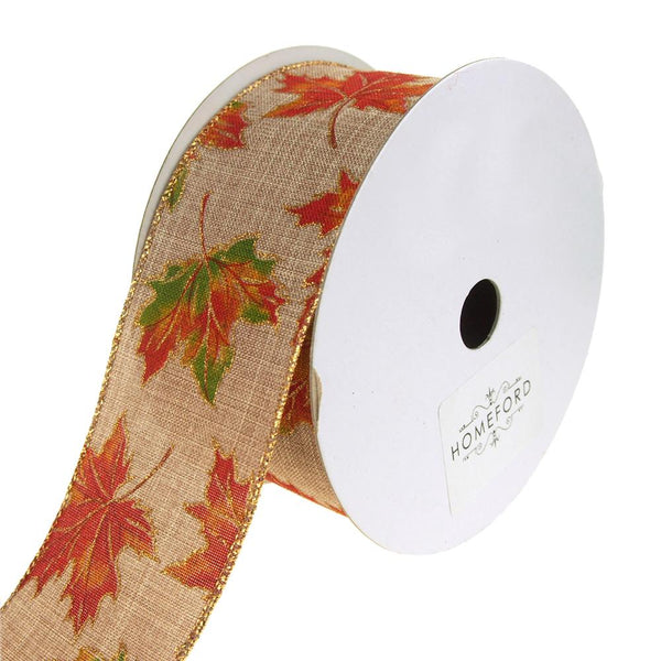 Autumn Leaves Fall Printed Linen Wired Ribbon, Natural, 2-1/2-Inch, 20 Yards