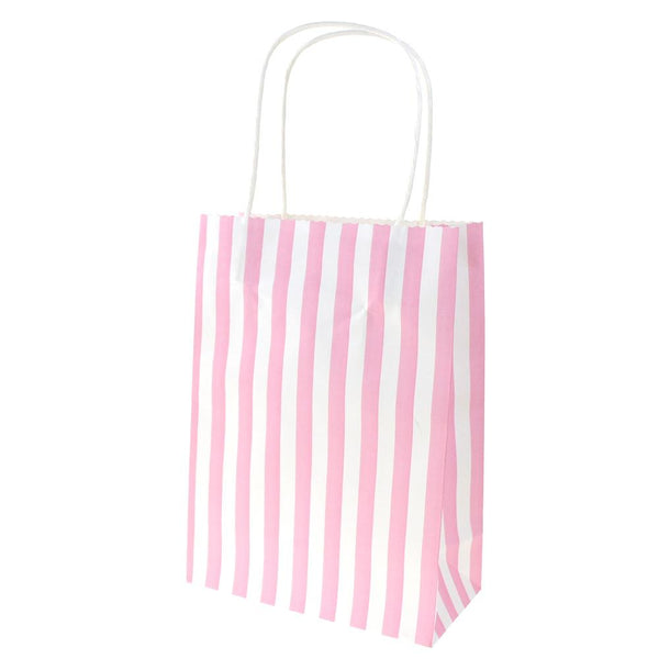 12-Pack, Striped Paper Kraft Bags with Handle, Pink, 9-Inch, 10-Count