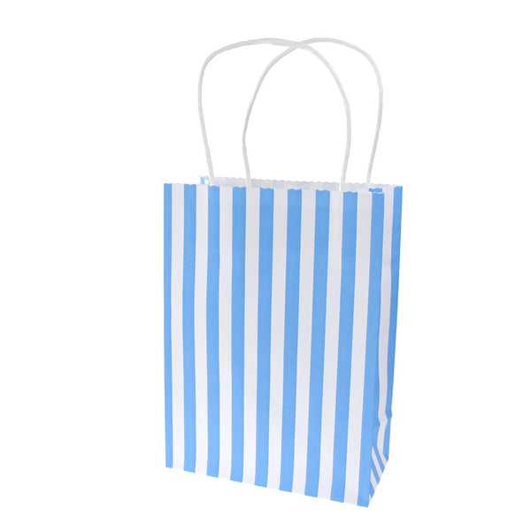 12-Pack, Striped Paper Kraft Bags with Handle, Blue, 9-Inch, 10-Count