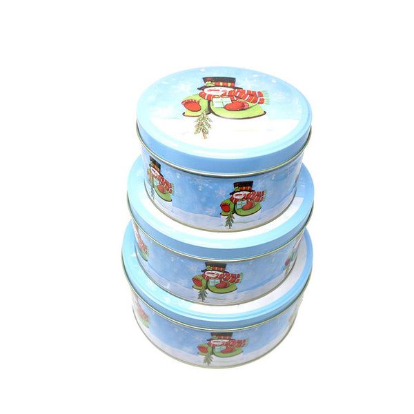 12-Pack, Round Snowman Christmas Cookie Tin Containers, 3-Piece