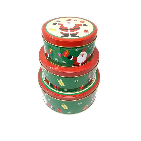 12-Pack, Round Santa Christmas Cookie Tin Containers, 3-Piece