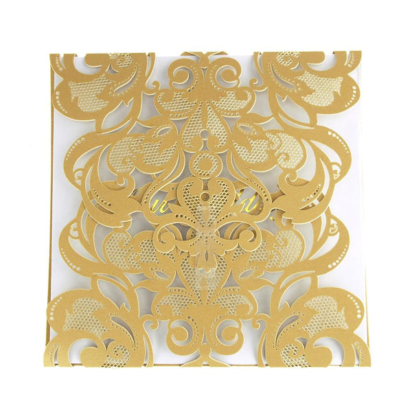 "12 Pack, Paper Square Laser-Cut Pearlescent Scroll Swirl ""Our Wedding"" Invitations, Gold, 5-3/4-Inch, 8 count"