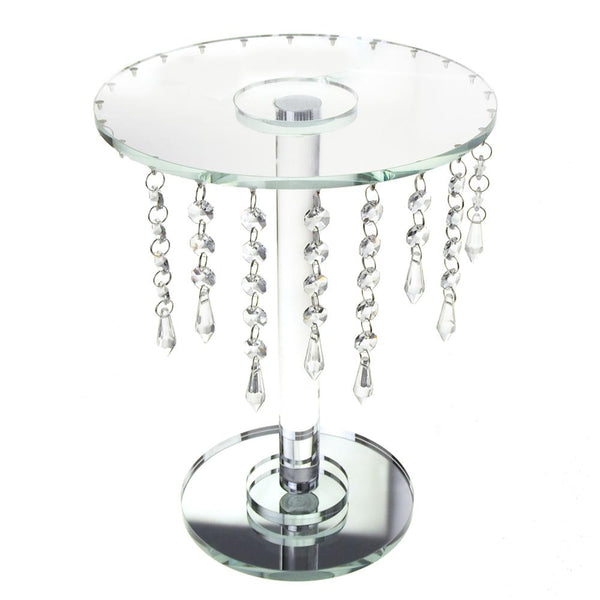 12 Pack, Round Glass Crystal Centerpiece with Strands, Clear, 12-3/4-Inch