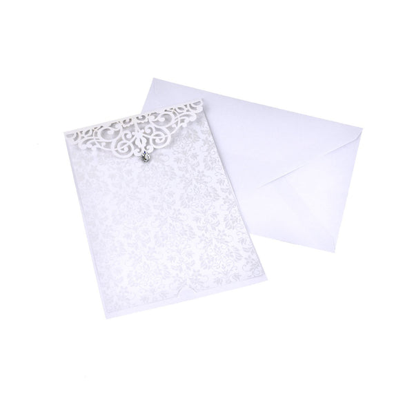 Blank Rectangular Laser Cut Lace Invitation with Rhinestone, 7-3/4-Inch, 8-Piece, White
