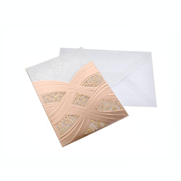 12-Pack Blank Invitations Rectangle Laser Cut Design With Studs, Rose Gold, 7-1/4 Inch, 8-Piece