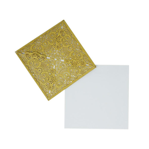Square Glitter Laser Cut Blank Invitations, Gold, 6-Inch, 8-Count