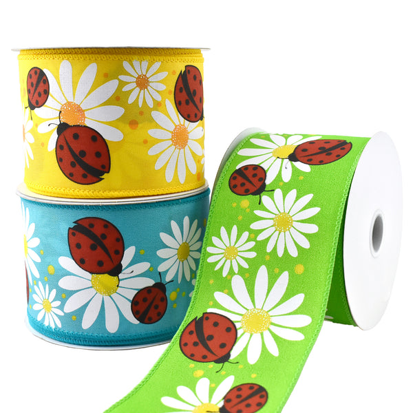 Ladybugs and Daisies Wired Ribbon, 2-1/2-Inch, 10-Yard