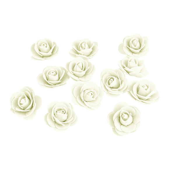 Craft Foam Roses, Ivory, 1-3/4-Inch, 12-Count