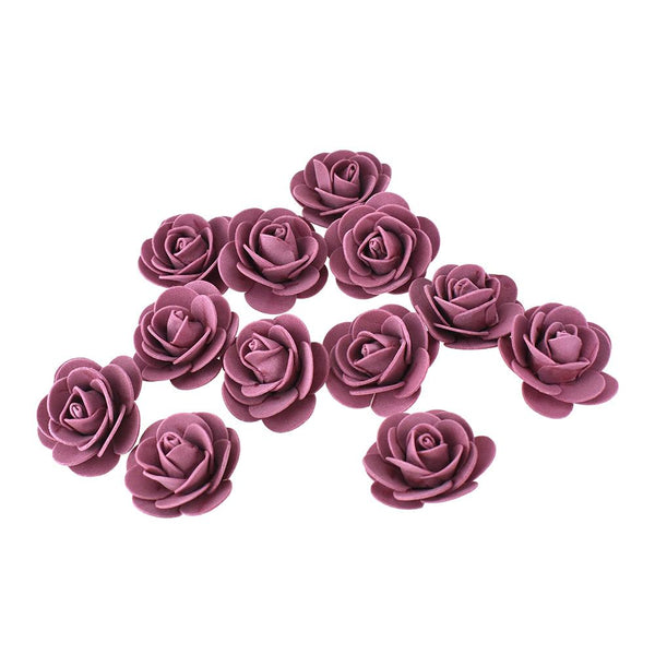 12-Pack, Craft Foam Roses, Mauve, 1-3/4-Inch, 12-Count