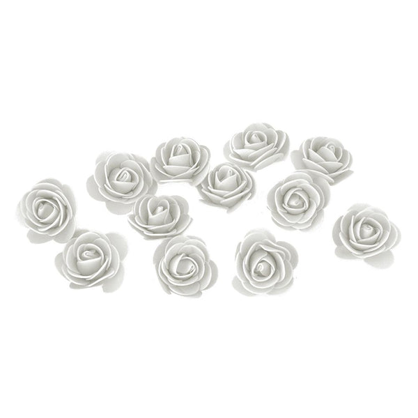Craft Foam Roses, White, 1-3/4-Inch, 12-Count