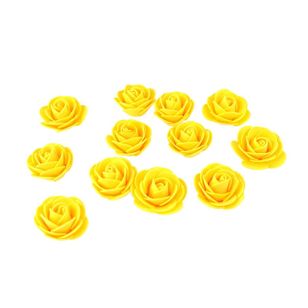 Craft Foam Roses, Yellow, 1-3/4-Inch, 12-Count