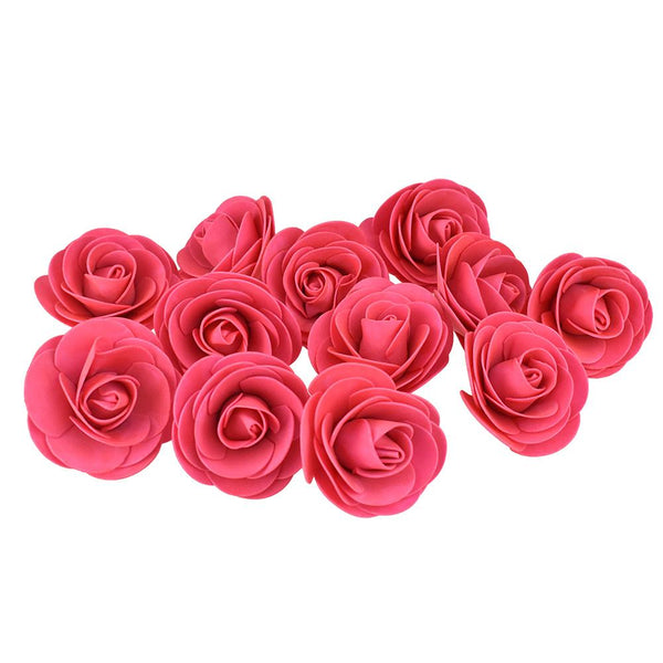 Craft Foam Roses, Fuchsia, 3-Inch, 12-Count