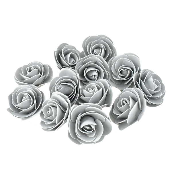 Craft Foam Roses, Silver, 3-Inch, 12-Count