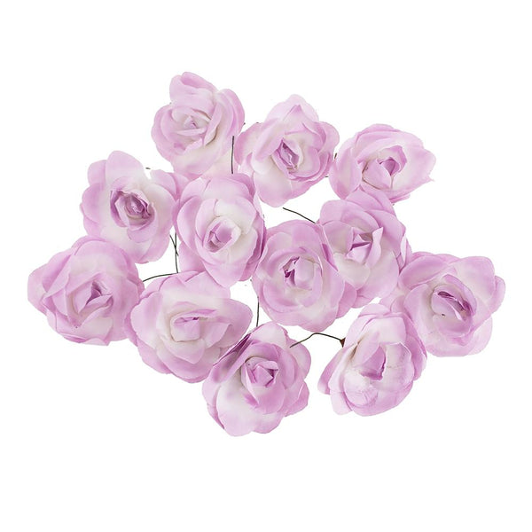 Rose Paper Flower Embellishment, 2-1/2-Inch, 12-Count, Lavender