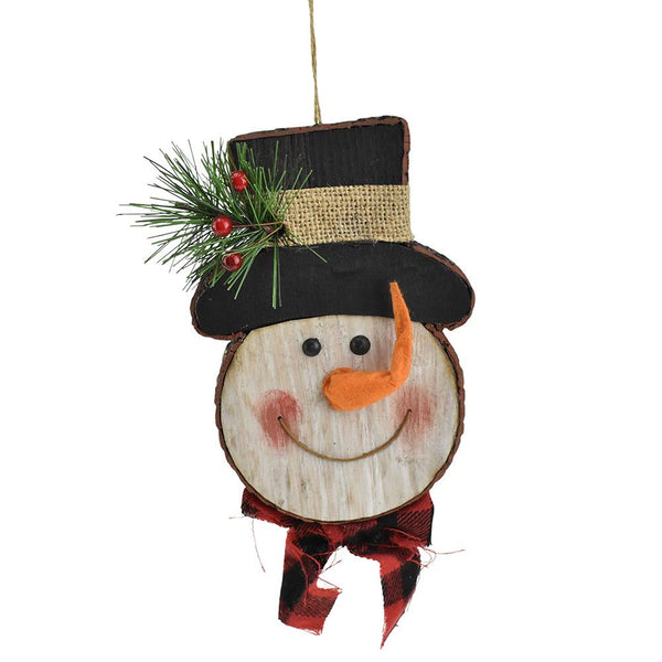 12-Pack, Wood Christmas Snowman Ornament, 7-Inch