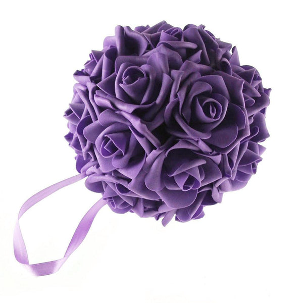 12-Pack, Soft Touch Flower Kissing Balls Wedding Centerpiece, 6-inch, Purple