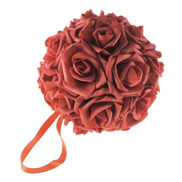 12-Pack, Soft Touch Flower Kissing Balls Wedding Centerpiece, 6-inch, Red