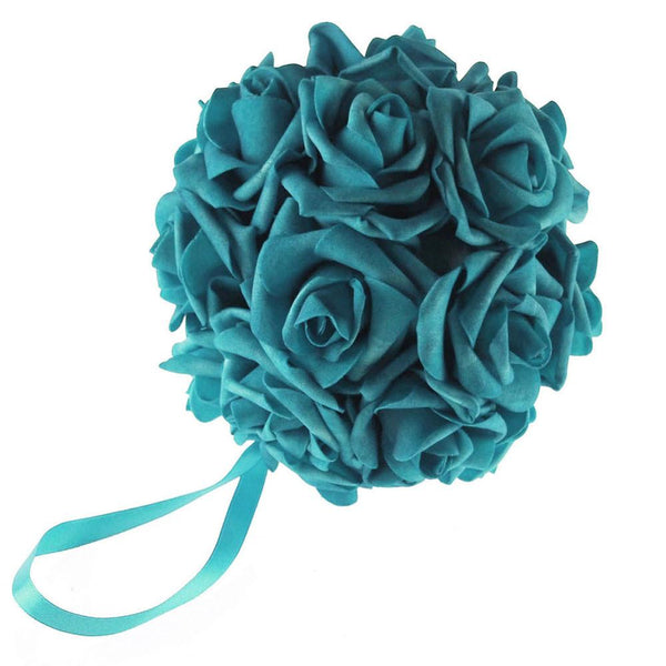 12-Pack, Soft Touch Flower Kissing Balls Wedding Centerpiece, 6-inch, Turquoise
