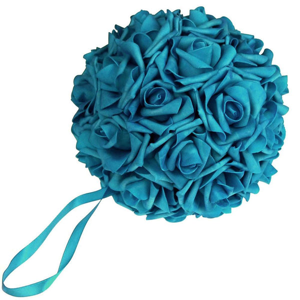 12-Pack, Soft Touch Flower Kissing Balls Wedding Centerpiece, 7-inch, Turquoise