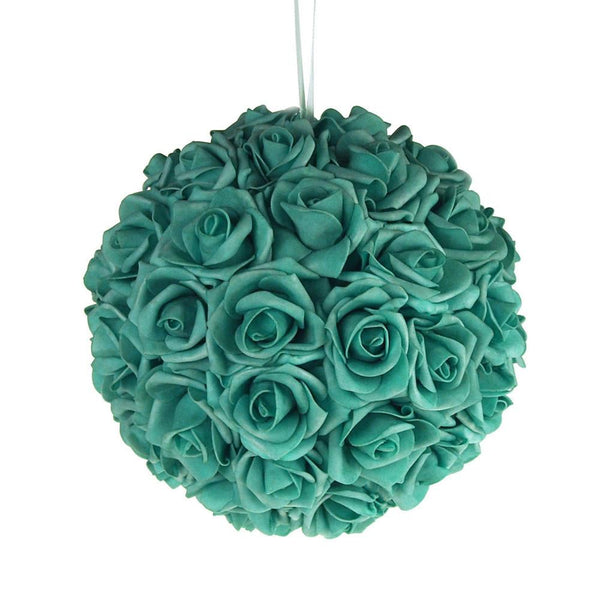 12-Pack, Soft Touch Flower Kissing Balls Wedding Centerpiece, 10-inch, Aqua