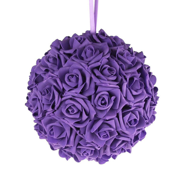 12-Pack, Soft Touch Flower Kissing Balls Wedding Centerpiece, 10-inch, Purple