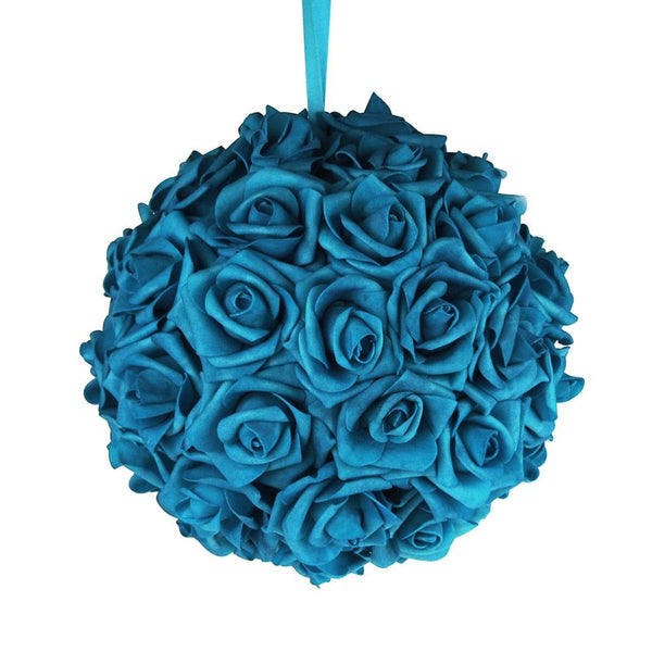 12-Pack, Soft Touch Flower Kissing Balls Wedding Centerpiece, 10-inch, Turquoise
