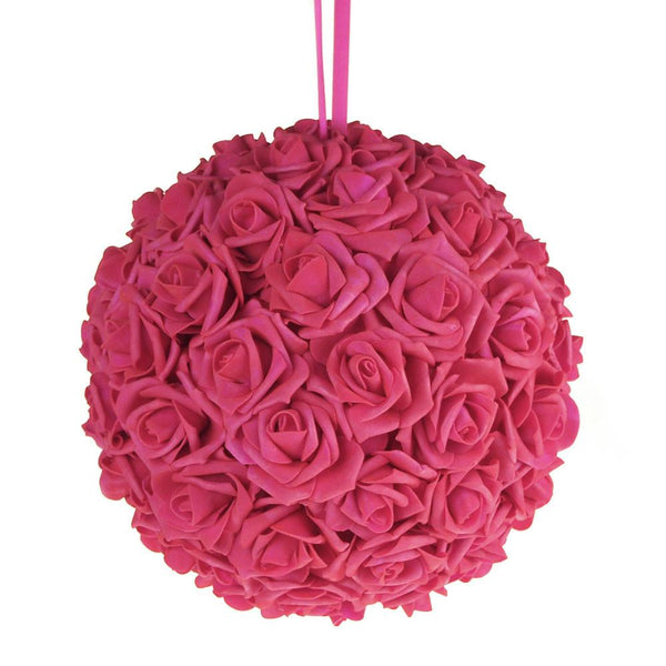 12-Pack, Soft Touch Flower Kissing Balls Wedding Centerpiece, 10-inch, Fuchsia