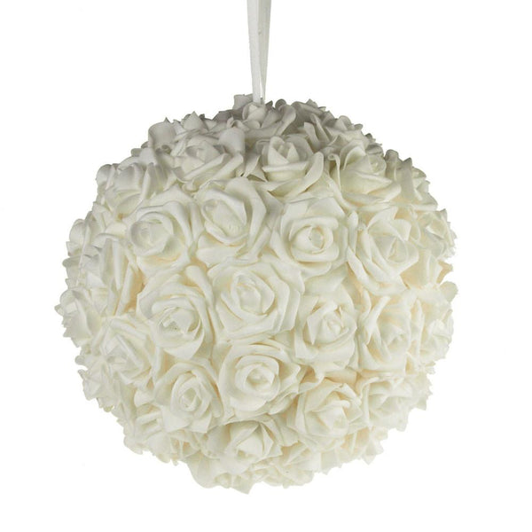 12-Pack, Soft Touch Flower Kissing Balls Wedding Centerpiece, 12-inch, White