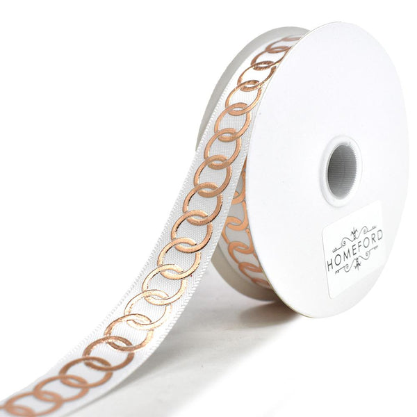 Metallic Chain Link Accent Ribbon, White, 5/8-Inch, 10-Yard