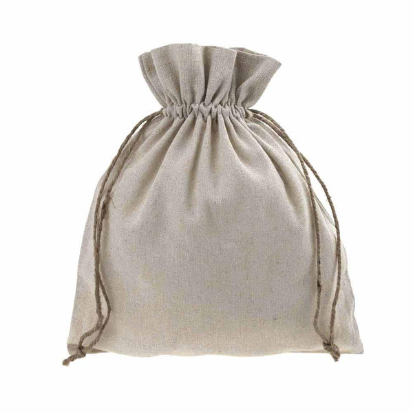 Natural Linen Favor Bags with Jute Drawstring, 8-Inch x 10-Inch, 12-Piece