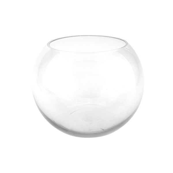 Round Fish Bowl Glass Bubble Vase, 6-Inch [Closeout]