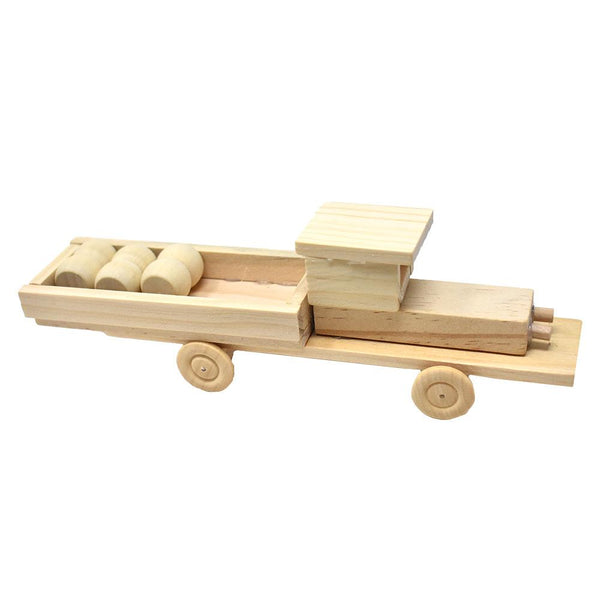 DIY Wooden Pickup Truck Model Kit, Natural, 28-Piece