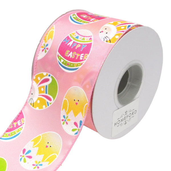 12-Pack, Bunny and Chick Easter Egg Ribbon, Pink, 2-1/2-Inch, 10-Yard